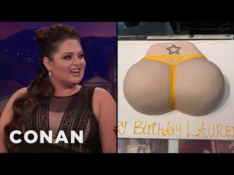 Lauren Ash's Birthday Butt Cake   CONAN on TBS