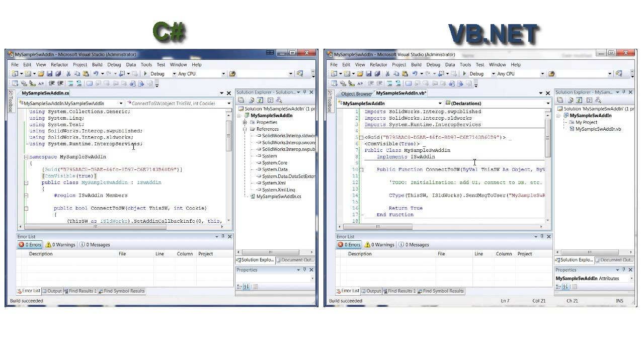 Create and register SolidWoks C# and VB NET AddIns in 3 Steps
