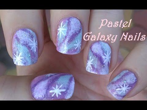 pastel galaxy nails  diy pretty sponge nail art  youtube