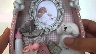 Baby Girl Shadowbox Birth Announcement