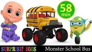 Monster School Bus | Monster Trucks | Car toys Surprise eggs unboxing | Kindergarten videos for kids
