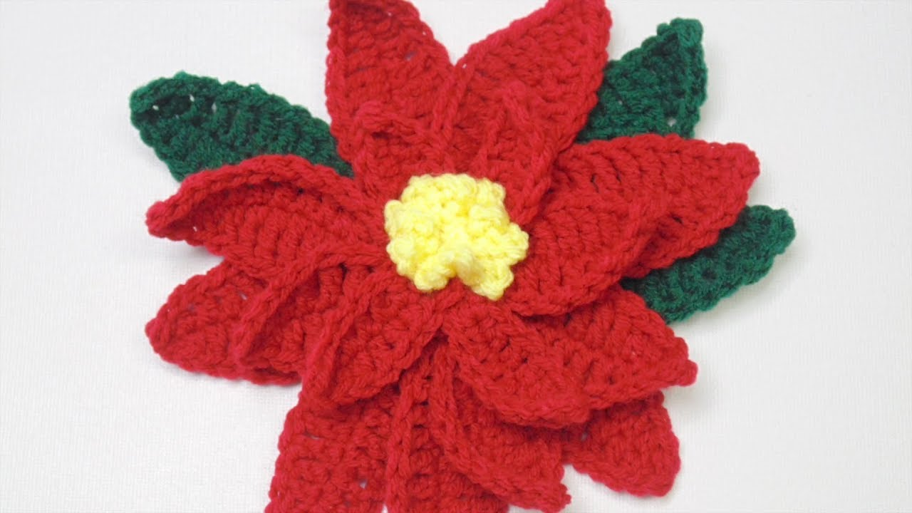 photograph relating to Poinsettia Pattern Printable named Crochet Poinsettia Flower Habit
