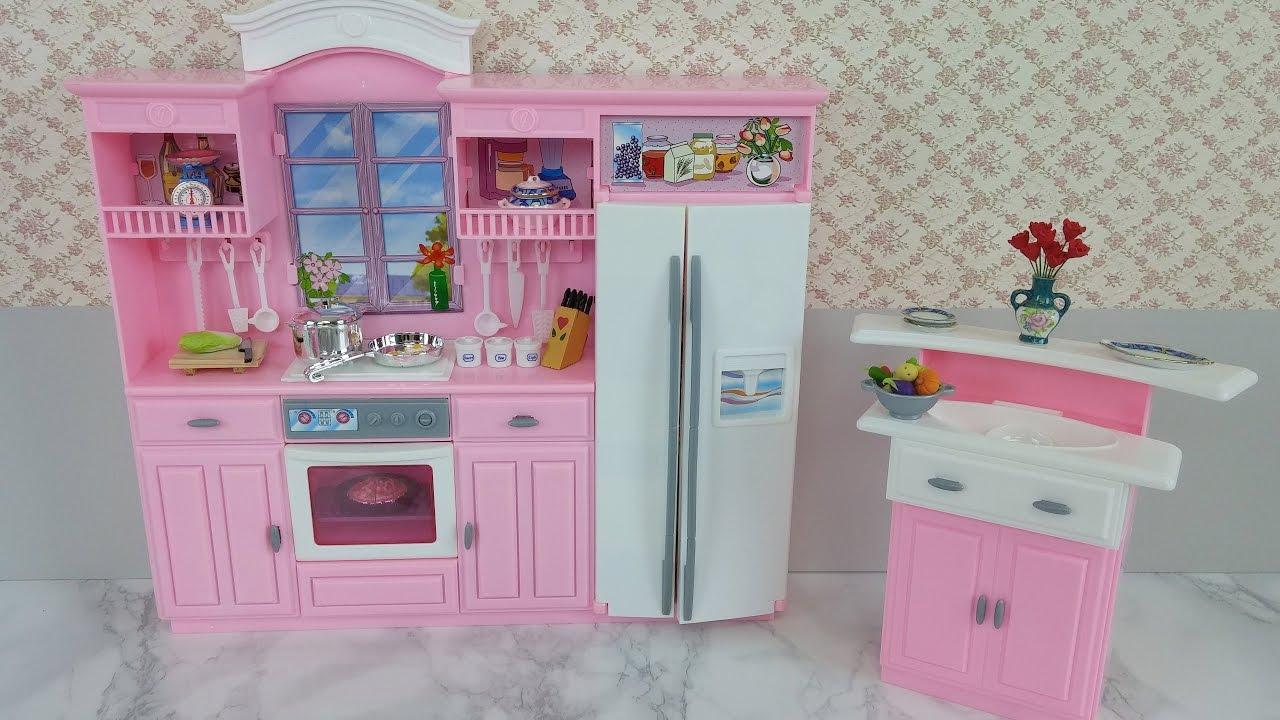 Frozen Queen Elsa Doll Barbie Kitchen Set Cozinha Elsa Barbie Cocinaエルサ人形バービーキッチン Youtube