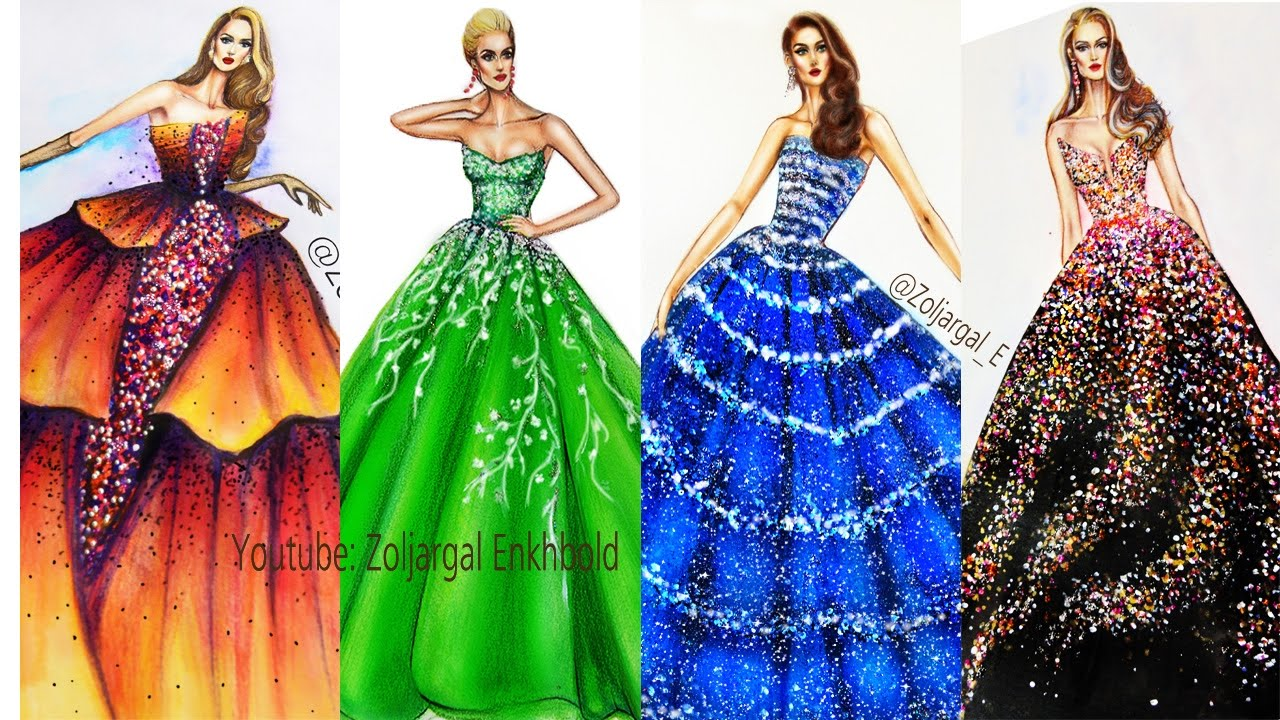 Fashion Illustrations Compilation Part 3 - Sparkling Gowns ...