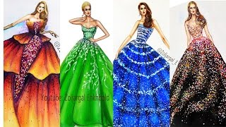 Fashion Illustrations Compilation Part 3 - Sparkling Gowns