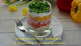 Warstwowa sałatka z szynką i warzywami - TalerzPokus.tv