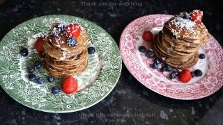 Delicious Tower Mini Pancake Vegan Recipe Easy Breakfast With Blueberries Strawberries And Bananas