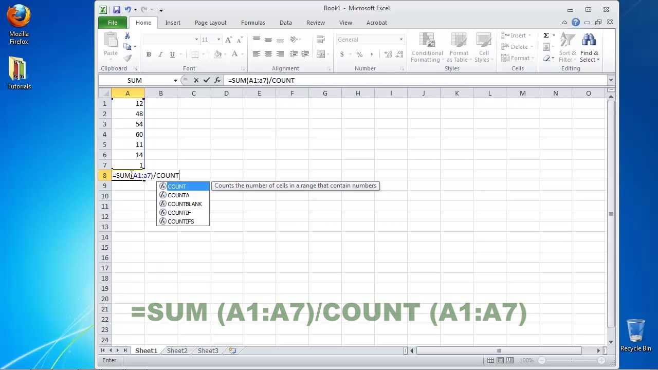 How To Calculate The Mean In Excel