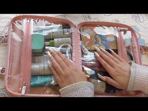 RUMMAGING THROUGH MY PLASTIC MAKEUP BAG INTERMITTENT SOFT SPOKEN ASMR || TAPPING AND LID SOUNDS