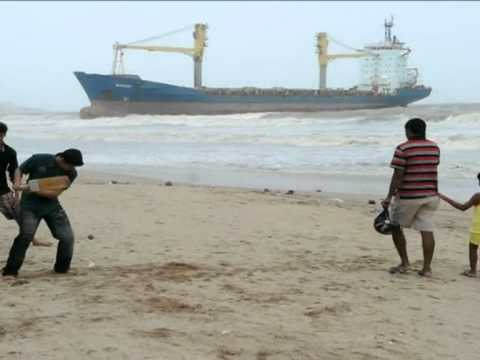 Stranded cargo ship stuck off Mumbai beach