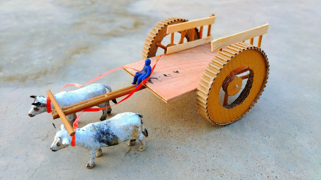 DIY How to Make Bullock Cart   Cow Shed   Bull House With Wood  - with clay   Woodworking