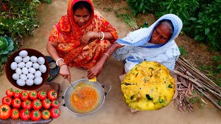 Village Style Egg Tomato Curry | Dim diye Tomato Traditional Bengali Recipe Cooking by Grandmother