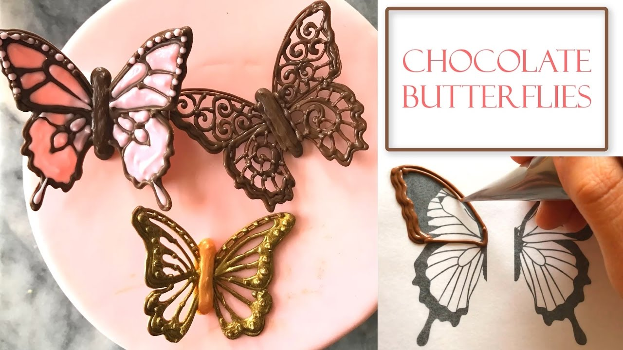 how to make chocolate butterflies piped filigree designs youtube