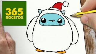 COMO DIBUJAR UN YETI PARA NAVIDAD PASO A PASO: Dibujos kawaii navideños - How to draw a Yeti