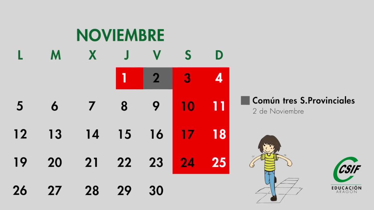 Aragon Calendario Escolar.Calendario Escolar Zaragoza 2018 19