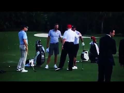 President Trump joins Tiger Woods and Dustin Johnson for golf