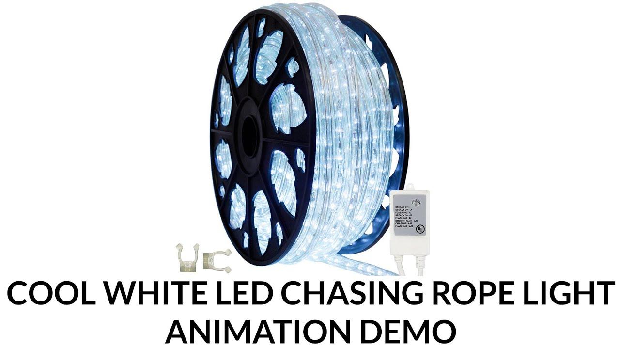 Led cool white chasing rope light animation demo youtube led cool white chasing rope light animation demo mozeypictures Choice Image