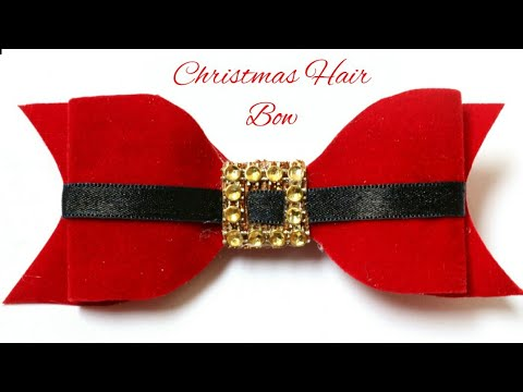 6f869f380259 Christmas Hair Bow | Santa Claus Bow| Red Velvet Bow| DIY Hair Clip For  Kids | #Bow