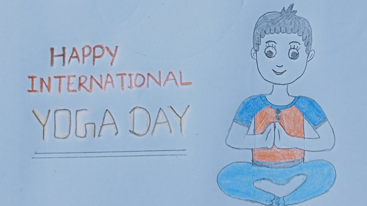 Drawingkids Yogaday Happy International Yoga Day Easy Drawing Poster For Kids Yoga Day Youtube