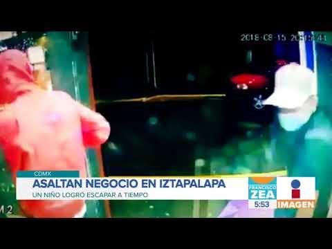 Captan en video asalto a una tienda de Iztapalapa