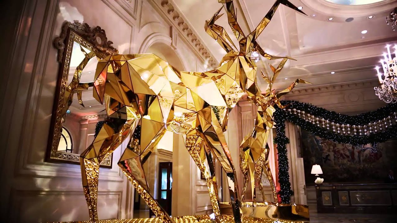 four seasons hotel george v paris sexy gold reindeer christmas decorations youtube - Hotel Christmas Decorations