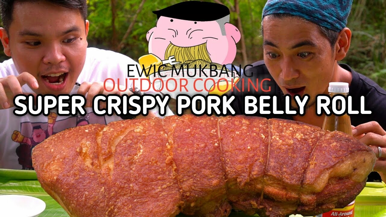 OUTDOOR COOKING | SUPER CRISPY PORK BELLY ROLL + Mukbang Collab With Daddy Ye ng @JUST LAFAM
