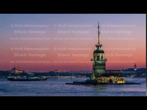 Maidens tower after beautiful sunset day to night timelapse in istanbul, turkey, kiz kulesi tower