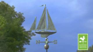 Gd9907sv1 Yawl Weathervane Blue Verde Copper