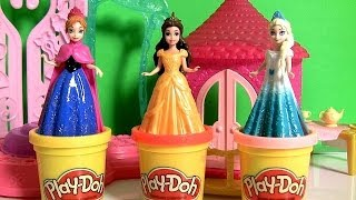 Play Doh MagiClip Princess Belle Flip 'N Switch Castle Magic-Clip Disney Frozen Elsa Anna Dolls