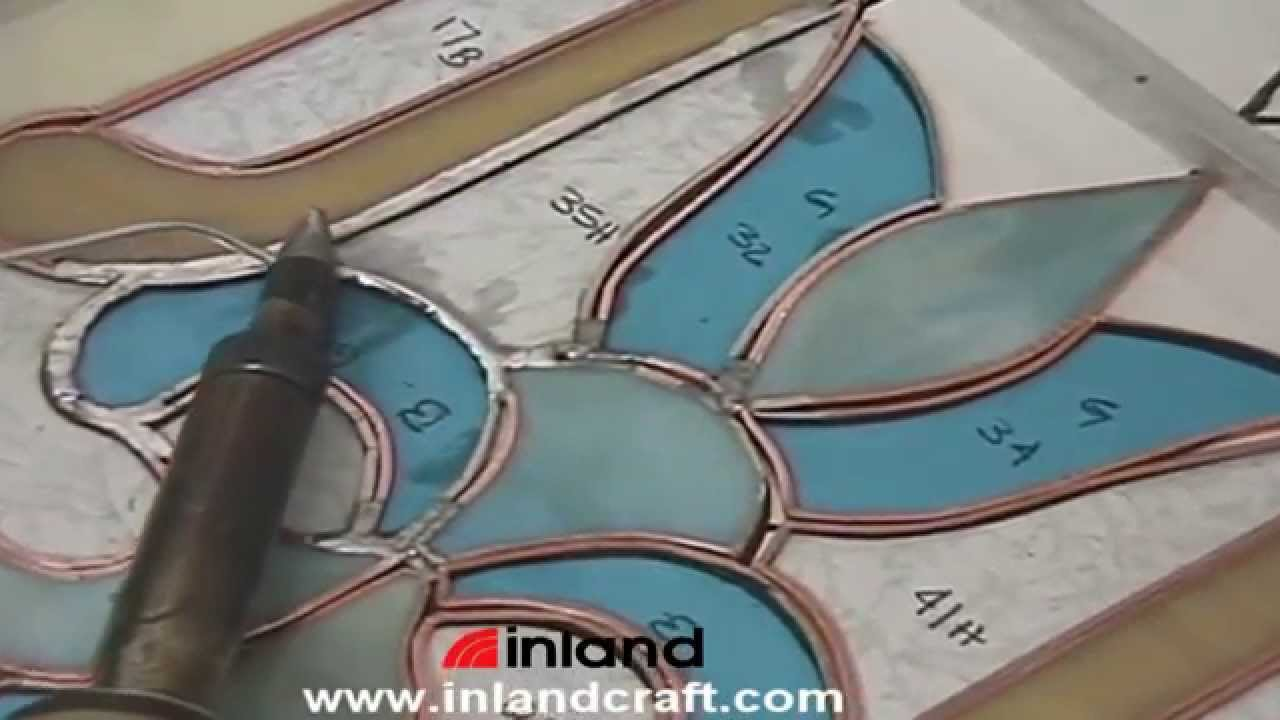 Soldering A Copper Foiled Stained Glass Panel   YouTube