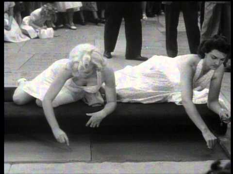 Marilyn Monroe And Jane Russell Cement Prints Footage  - Grauman's Chinese Theater 1953