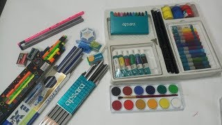 Apsara art kit & 3 pencils box and watercolor unboxing