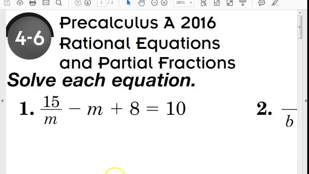 4 6 Precalculus Rational Equations And Partial Fractions Part A