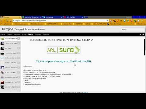 Como descargar Certificado de afiliacion ARL SURA.