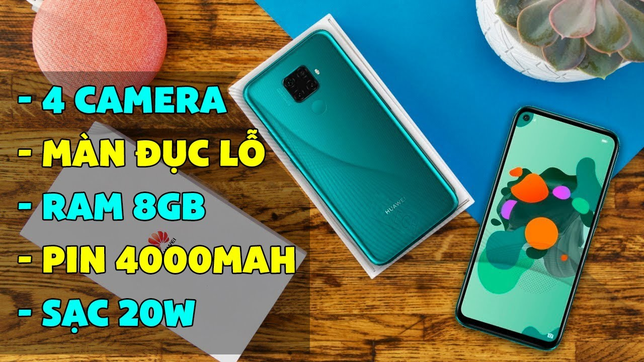 Cận cảnh Huawei Nova 5z: Màn đục lỗ, Ram 8GB, Camera 48MP, Pin 4000mAh, Sạc 20W