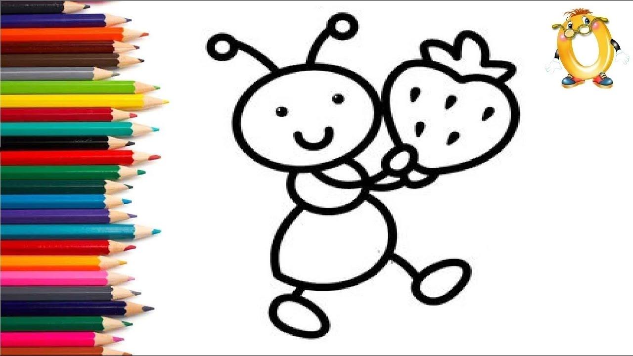 Раскраска для детей МУРАВЕЙ С КЛУБНИЧКОЙ. Мультик ...