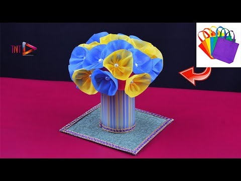 How To Make A Waste Material Flower Ball | Flowers Showpiece Idea | DIY Flower Home Decor Idea