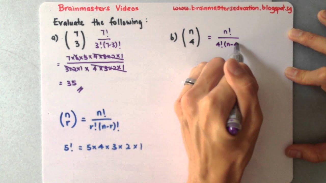 Binomial - Formula of n choose r - YouTube