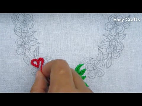 Hand embroidery,Latest neckline embroidery design tutorial thumbnail