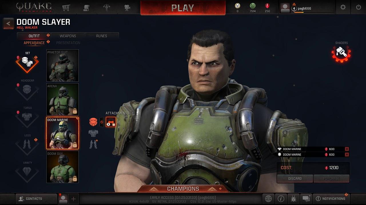 Quake Champions in 12K - Doom Slayer / Doomguy skins and cosmetics - UHD  12p