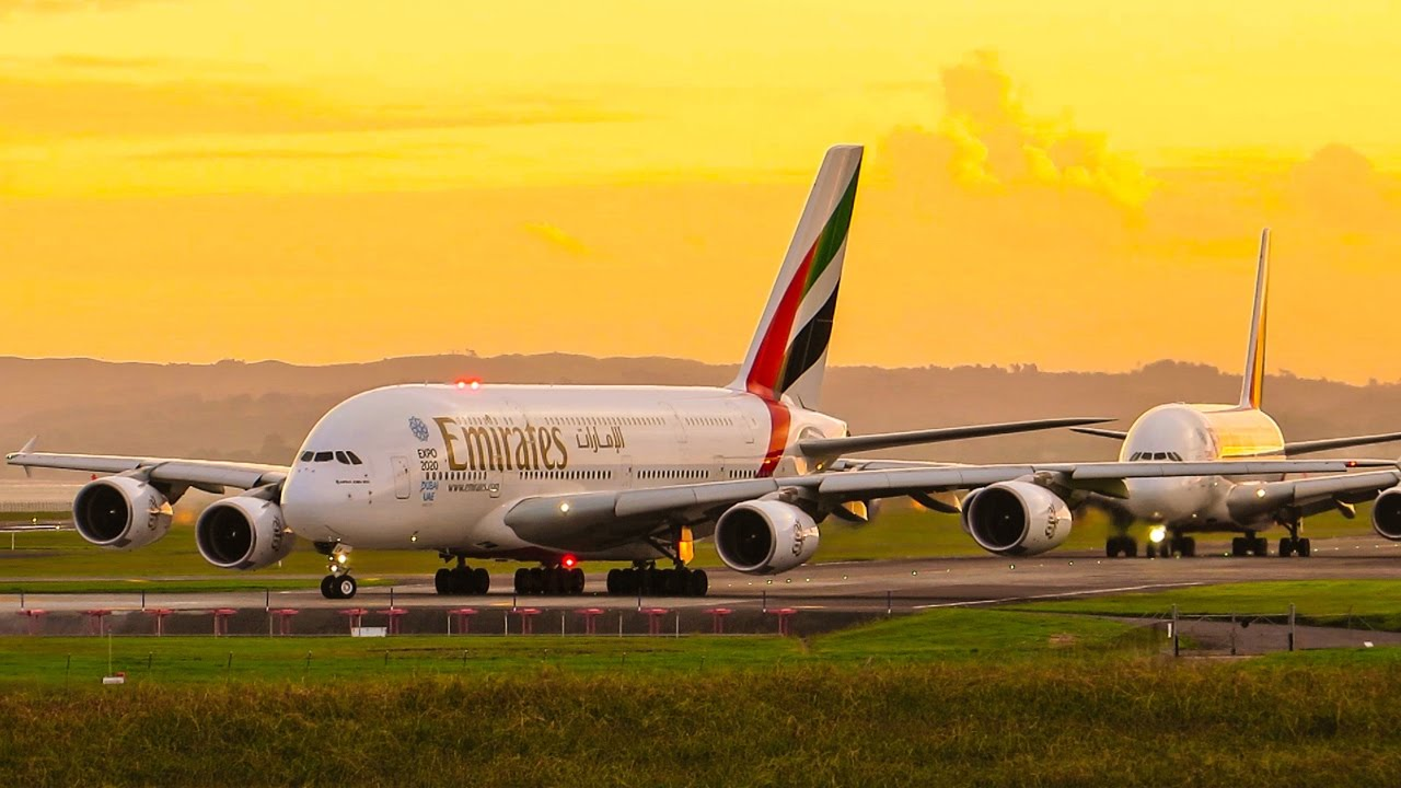 Emirates Airbus A380 Twins Sunset Takeoff