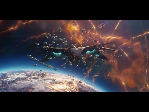 Guardians of the Galaxy Vol. 2 - Sovereign Fleet Chasing Thief