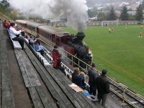 ČHŽ - Steam train rides through the football field in Jánošovka