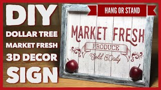 DIY Dollar Tree Market Fresh 3D Farmhouse Decor Sign - Wall Or Table Decor - Shadow Box Room Decor