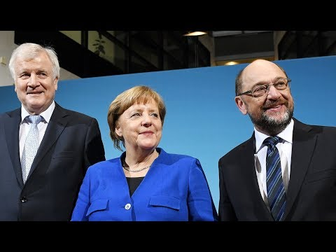 Martin Schulz, Angela Merkel und Horst Seehofer zum Abschluss der Sondierungen