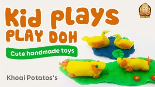 Kid plays Play Doh Ducks and Dogs handmade very cute