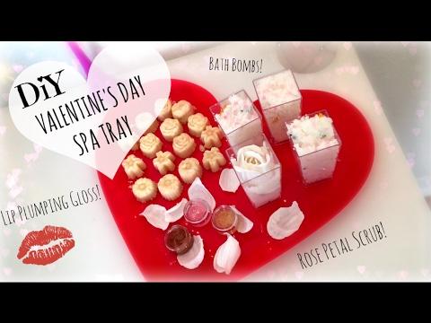 diy valentines day spa tray bath bombs rose scrub lip plumping gloss nikki stixx - Valentines Day Spa