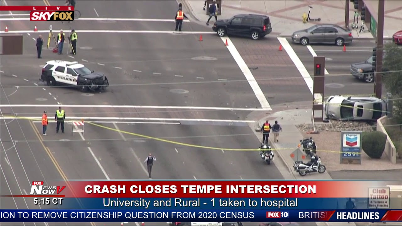 HARD CLOSURE: Crash involving police cruiser shuts down Rural/University in  Tempe, AZ