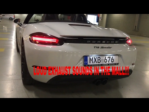 PORSCHE 718 BOXSTER LOUD EXHAUST SOUNDS IN THE MALL!!!
