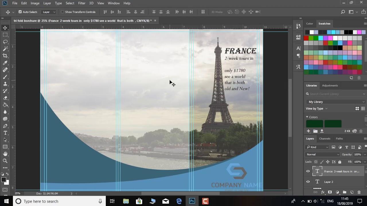 Tri Fold Brochure Design | In Photoshop cc tutorial by tablo